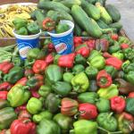 Figure 5. Green and red bell peppers for sale at a public market in Havana Cuba in 2016. Photo by Frank Mangan)