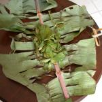 Figure 4. Culantro wrapped in a banana leaf for sale in a market in Honduras in 2002 (Photo by Frank Mangan)