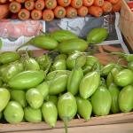 Figure 6. Jiló, comprido verde claro type, for sale at a market in Rio de Janeiro in 2004. (Photo by Frank Mangan)