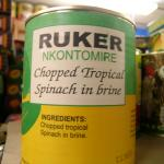Figure 3. Canned nkontomire for sales at an African market in Worcester in 2006. (Photo by Frank Mangan)