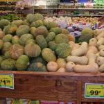 Figure 15. Kabocha squash and butternut squash for sale at a Latino store in Worcester, Mass. in 2006. (Photo by Frank Mangan)