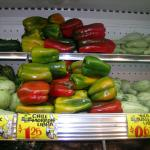 Figure 6. Green and colored bell peppers for sale at a supermarket in San Salvador, El Salvador in 2005. Photo by Frank Mangan)