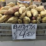 Figure 3. A white flesh variety of sweet potato, called batata doce (White sweet potato in Portuguese) at a market in Manaus Brazil in 2015. (Photo by Frank Mangan)