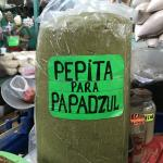 Figure 13. Pepita made from the kernel of large calabaza seeds, with epazote added, for sale in a retail market in Merida in 2017. (Photo by Frank Mangan)