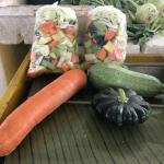 Figure 8. Two bags of chopped vegetables for sale at a retail market in Merida Mexico in 2017. In front of the bag are three of the vegetables in the bag: carrots, calabaza largea and calabaza (Left to right, clockwise). (Photo by Frank Mangan)