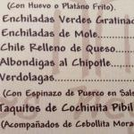 Figure 3. Menu at a restaurant in Mexico with a popular dish using verdolaga, Espinazo de Puero con Verdolagas, in 2012. (Photo by Frank Mangan)