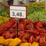 Figure 2. Red and yellow sweet bell peppers for sale at a market in Rio de Janeiero in 2011 Photo by Frank Mangan)