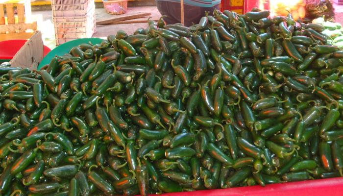 Jalapeno peppers for sale at a market in Puebla Mexico in 2010. (Photo by Frank Mangan)
