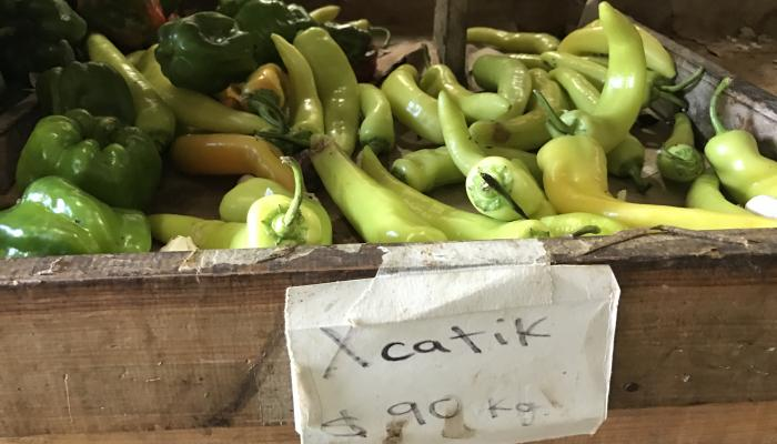 Xcatik peppers for sale at a market in Progreso, Merida Mexico on January 3, 2017. (Photo by Frank Mangan)