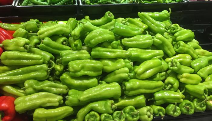 Cubanelle peppers for sale at a Llatino market in Worcester, Mass. in 2015. (Photo by Frank Mangan)