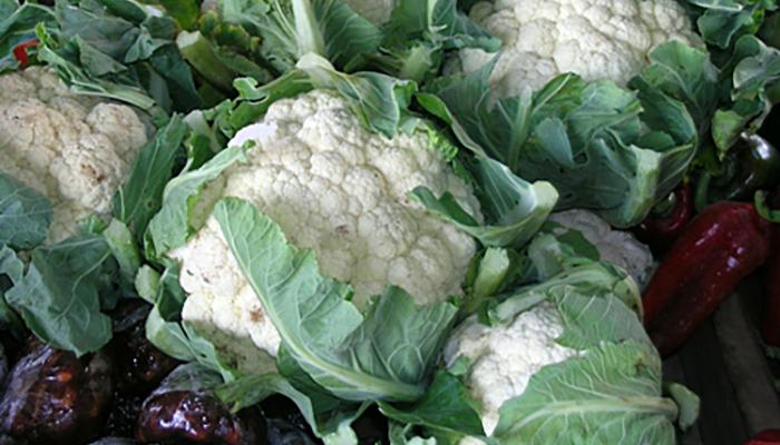 Cauliflower for sale at a market in Siquirres Costa Rica. (Photo by Frank Mangan)