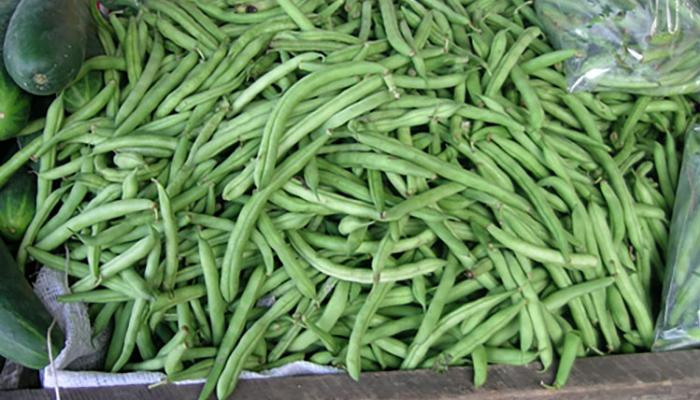 Green beans for sale at a market in Siquirres Costa Rica.